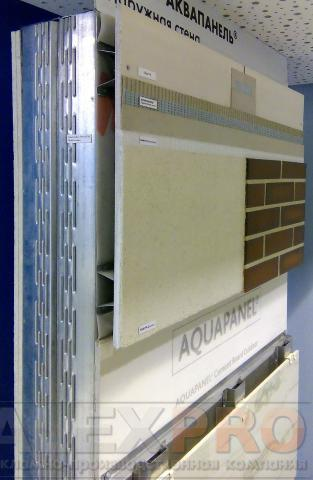 Напольный стенд с применением различных систем вентфасада. клинкерная плитка, декоративная штукатурка, керамогранит, терракотовые панели